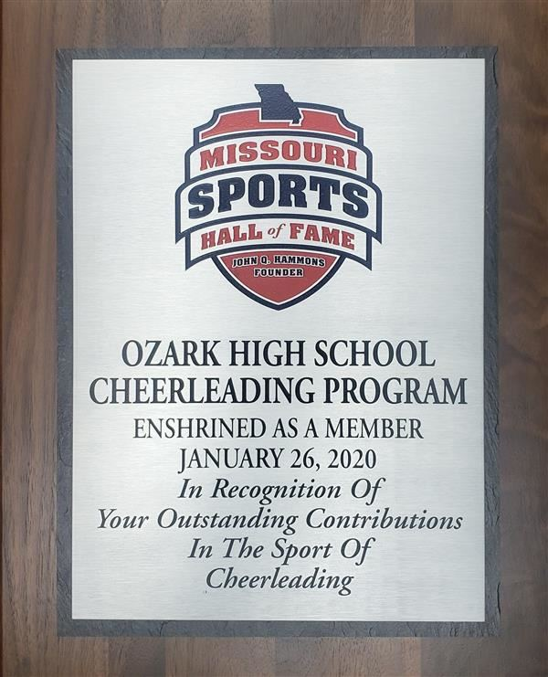 Ozark Cheer Hall of Fame plaque