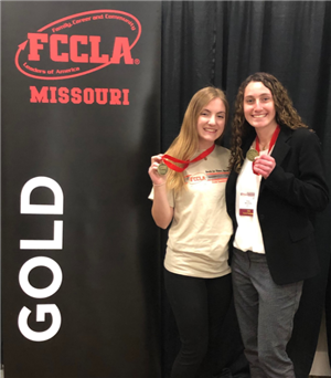 Meagan Smith and Eliza McComas earned a gold rating at the Missouri FCCLA State Leadership Conference