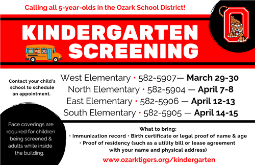 Kindergarten Screening Registration Now Open