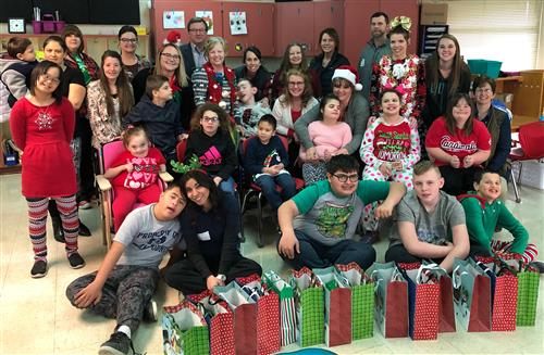 Ozark Middle School students in Mrs. Gaskill's class had a special treat Dec. 20 with a surprise Christmas party.
