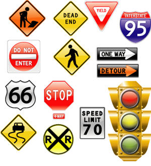Us Road Signs and Lights